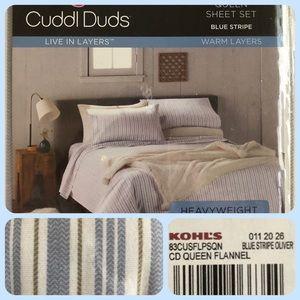 Flannel Sheet Set NWT Cuddl Duds Blue stripe